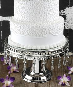 Silver Wedding Cake Stand available to hire at mysweeteventhire .com.au