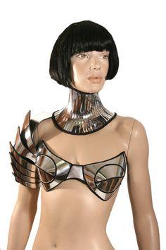 customized , rave bra, cybergoth bra, lady gaga, futuristic clothing, burning man, fantasy, burlesque, pin up