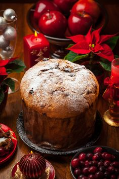Panettone cake for Christmas - traditional Italian Christmas cake Typical Christmas Celebration Traditions and Customs in Italy