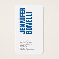 Professional minimalist modern bold blue white business card - chic design idea diy elegant beautiful stylish modern exclusive trendy