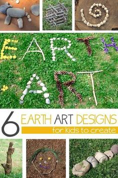 Some beautiful art using only natural ideas- like rocks, dirt and plants- great ideas for Earth Day celebrations!
