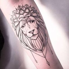 Image result for geometric lioness lotus flower tattoo