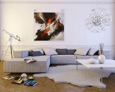 White Living Room Design with Light Gray L-Shaped Sofa and Wooden Floor #unique #interior #design // #interiordesign