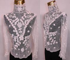 Edwardian Antique White Irish Crochet Tape Lace Bodice Blouse