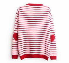 Valentines Day Outfit, Casual V-Day Outfit, Hearts on Elbows, Red and White Sweater