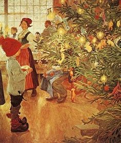 It's Christmas Again by Carl Larsson, 1853-1919. #christmas, #paintings