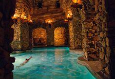 The Grove Park Inn, Asheville, North Carolina, United States, North America Cool Swimming Pools, Best Swimming, Cool Pools, Hotel Swimming Pool, Grove Park Inn Asheville, Asheville Spa, Jacuzzi, Underground Pool, Cave Pool