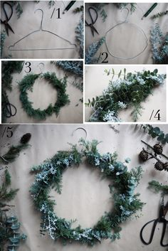 DIY: CHRISTMAS WREATH OF WIRE HANGER