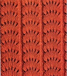 Aprender puntadas de tejido de dos Gujas y de crochet. Beautiful variant of Feather & Fan There are several others on the page with charts. Many other charted knitting stitches on this Russian site. Lace Knitting Stitches, Knitting Books, Easy Knitting Patterns, Crochet Stitches Patterns, Knitting Charts, Knitting Designs, Baby Knitting, Stitch Patterns, Couture
