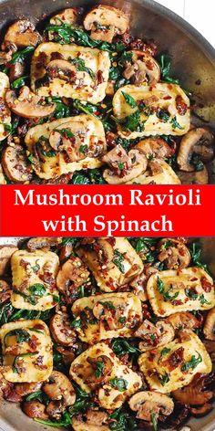 family's favorite food and drink ! Mushroom Ravioli with Spinach Mushroom Ravioli with Spinach - t - -Your family's favorite food and drink ! Mushroom Ravioli with Spinach Mushroom Ravioli with Spinach - t - - Spinach Ravioli, Mushroom Ravioli, Oyster Mushroom Recipe, Spinach Mushroom Pasta, Baby Food Recipes, Pasta Recipes, Cooking Recipes, Dinner Recipes, Best Chicken Salad Recipe