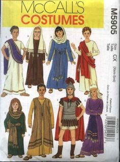McCall's Sewing Pattern 5905 Girls Boys Size 7-16 Biblical Costumes Christmas Easter Passion Plays. Other sizes available.
