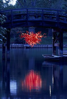 "NIGHT - JAPANESE BRIDGE CHANDELIER, 2006  56 X 98 X 86""  APRIL 30, 2006 - JANUARY 1, 2007  MISSOURI BOTANICAL GARDEN  ST. LOUIS, MISSOURI"