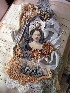 Wearable Vintage Lace Collage/Brooch by suziqu on Etsy