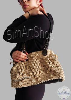 #crochet #handmade #handmadebags #crochetbags #bagsandpurses #onlinebags #handmadeshop #crochettote #raffiabag #raffiatote #gerarddarelinspired #crochetbobblebag #crochetart #3dtexturebag #handbags #handmadebyme #giftforher #womanbags #uniquebags #giftforwoman #simartshop #bohobag #giftformom #wovenbag #strawbag Crochet Cord, Crochet Bags, Crochet Gifts, Women Accessories, Fashion Accessories, Creative Knitting, Straw Handbags, Round Bag, Beautiful Handbags