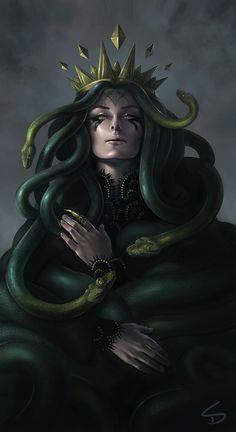Medusa - Digital Art by Sara K. Medusa Gorgon, Medusa Kunst, Medusa Art, Fantasy Kunst, Dark Fantasy Art, Dark Art, Fantasy Artwork, Diesel, Arte Horror