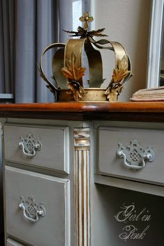 Girl in Pink: Colonial Style Frenchified - Desk, Mirror and Chair made over in Chalk Paint® and Gold Gilding Wax.