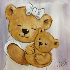 Peinture Ourson Lin Maman et Bébé, PEINTURE Ourson