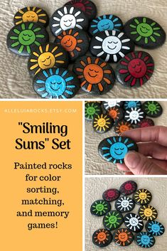 Rock Painting Ideas Discover Smiling Suns Matching Game Painted Rocks Sorting Set Painted Stones for Learning Colors Memory Game Stones Early Literacy Therapy Tool Rock Painting Ideas Easy, Rock Painting Designs, Paint Designs, Rock Painting Ideas For Kids, Painted Rocks Craft, Hand Painted Rocks, Painted Stones, Painted Garden Rocks, Rock Crafts