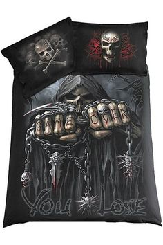Game Over Skeleton Reaper DOUBLE Gothic Bedding Set