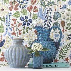 Image of Papel pintado Scandinavian designers by Stig Lindberg flores colores