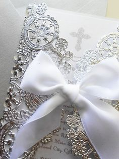 Custom Laser Cut White And Silver Baptism/Christening Invitation/Announcement-Laser Cut Doily Style Invitation