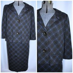 Vintage 50's 60's Windowpane Check Knit Suit by CicelysCloset