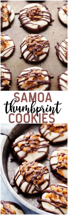 All of the things that you love about the classic Samoa Cookie in a cute little thumbprint cookie! A shortbread crust dipped in chocolate with the caramel coconut center and drizzled in chocolate!