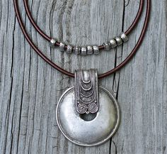 Silver Tribal Pendant Necklace Hip Leather Necklace by amyfine