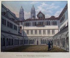 1845 R. Zollinger after FRANZ SCHMID ZÜRICH - Grossmünster - Chorherrngebäude