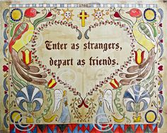 "Pennsylvania Dutch Fraktur 11""x14"" open edition print  Colonial reproduction 1788 saying sign welcome friends strangers depart enter. $36.00, via Etsy."