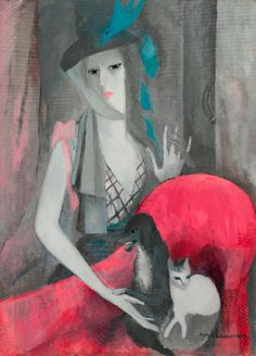 Marie Laurencin (1883-1956), 1916, Femme au chien et au chat, oil on canvas.