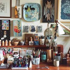 Geninne's Art – Cool Office Space Art Studio Room, Art Studio Design, Art Studio At Home, Home Art, Studio Condo, Studio Desk, Studio Spaces, Atelier Creation, Cool Office Space