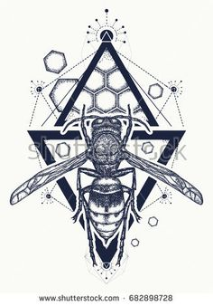 Bee t shirt design. Symbol of freedom, flight. Wasp tattoo and t-shirt design