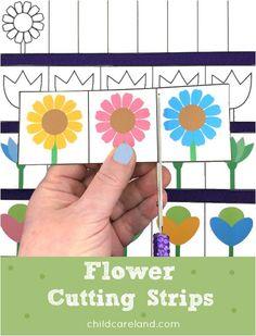 Flower cutting strips for fine motor and scissor skill development.