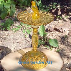 Vintage Yellow Avon Perfume Bottle Yellow Glass by GraceGardenArt