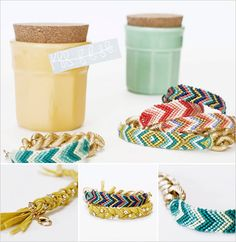 Gorgeous friendship bracelets from Alexandra Jade via #weddingchicks. Love the patterns and colors!