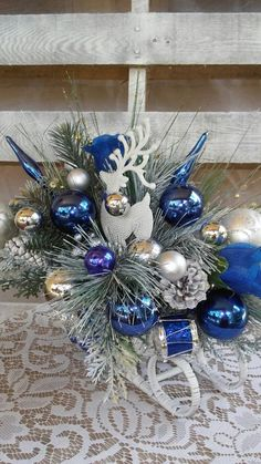 Blue and Silver Christmas Sleigh Reindeer Royal Blue Ornaments Blue Christmas Tree Decorations, Christmas Arrangements, Christmas Centerpieces, Christmas Tree Ornaments, Christmas Mantles, Christmas Villages, Christmas Sleighs, Christmas Tablescapes, Turquoise Christmas
