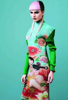 colour and texture exploding in an Issey Miyake pleated dress.