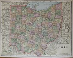 Antique Ohio Map Of Ohio State Map 1893 Gallery Wall Art Birthday Gift Home Decor 6667