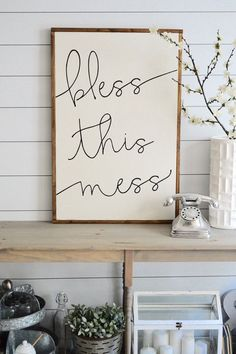 BLESS THIS MESS painted wood sign, S,M and L sizes available | Wall decor (Rustic Chic, Modern Farmhouse, fixer upper) Free Shipping Awesome, Decals, Etsy, Interior Design, Signs, Home Decor, Diy Ideas, Nest Design, Homemade Home Decor