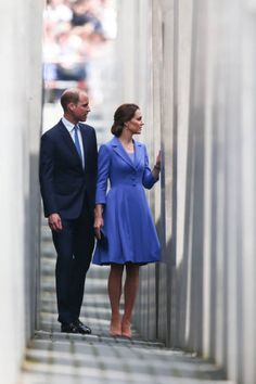 Prince William Duke of Cambridge and Catherine Duchess of Cambridge visit the Holocaust Memorial during an official visit to Poland and Germany on...