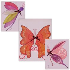 Purple Butterflies With Sparkling Wings - Girls Room Decor, Wall Art Canvas - Personalized Name Sign.