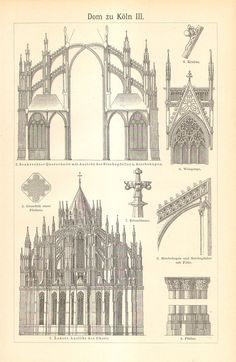1903 Cologne Cathedral, Hohe Domkirche St Peter und Maria Original Antique Engraving Cathedral Architecture, Ancient Greek Architecture, Arch Architecture, Drawing Architecture, Classical Architecture, Architectural Prints, Architectural Sketches, Skin Paint, Isometric Drawing