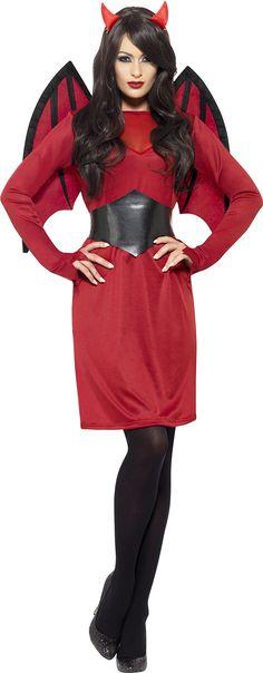 f12d4db5a0f80f Smiffys Womens Economy Devil Costume Dress Wings Belt and Horns Legends of  Evil Halloween Size 1416