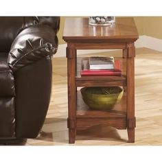 Signature Design By Ashley - Cross Island Chairside End Table Furniture Depot, Table Furniture, Living Room Furniture, Island Chairs, Oak Stain, Sofa End Tables, Mortise And Tenon, Home Entertainment, Signature Design