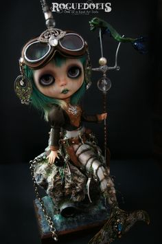 """Evolve today! New and Improved mermaid suit by Ryan Industries. Discover new places near Rapture and find lost treasures. Mermaid suit comes with Whale-Tonic to improve your lungs, so you can swim for an hour without need of oxygen."" • Custom Blythe dolls •  Custom Blythe Doll 113: Steampunk Mermaid by Rogue Dolls"