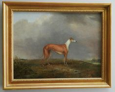 Beautiful antique oil painting of a Greyhound dog.  Find it at the Antique Pooch shop at Ruby Lane.