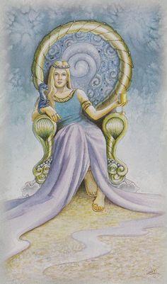 Celtic Dragon Tarot (DJ Conway, Lisa Hunt): Queen of Cups via http://www.albideuter.de/html/keltische_drachen_48.html