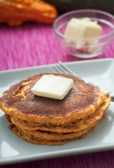 Pumpkin Pancakes are the perfect dish for your breakfast this fall. Serve with fresh whipped cream and toasted pecans! #recipe #Pumpkin #ebeggs Follow Egglands Best at pinterest.com/egglandsbest/ for delicious ideas, fun things in the kitchen and other eggciting things!