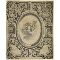 Design for a ceiling with central oval and six surrounding compartments